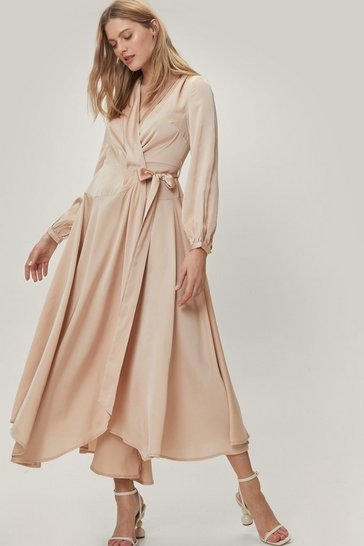 Champagne Satin Long Sleeve Maxi Wrap Dress