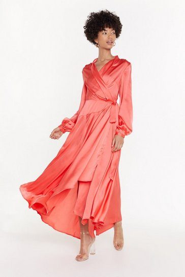 Womens Coral Steal Ther Spotlight Satin Dress
