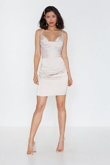 Womens Ivory Cowl Mini Dress in Satin