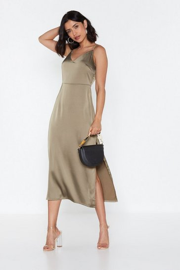 Womens Khaki Satin My Opinion Midi Dress