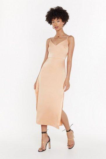 Peach Satin My Opinion Midi Dress