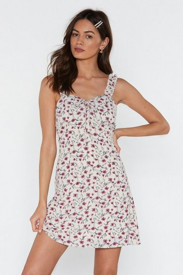 Cream Frill Strap Floral A-line Mini Dress