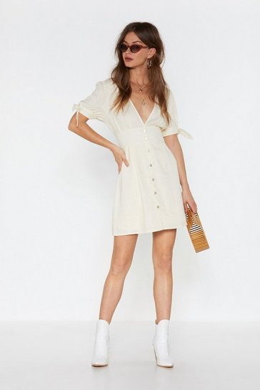 Womens Ecru All Play Linen Mini Button-Down Dress