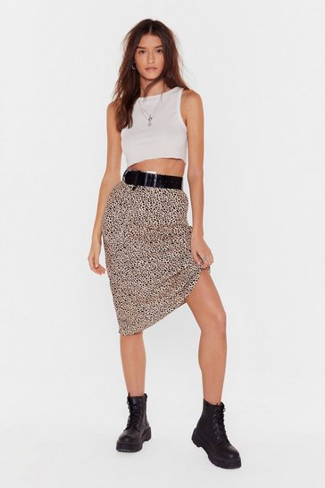 Nude Polka Dot Print Bias Cut High-Waisted Midi Skirt