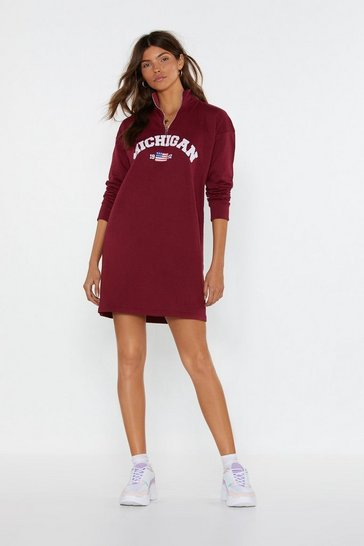 Womens Burgundy Michigan Do Attitude Graphic Sweater Dress