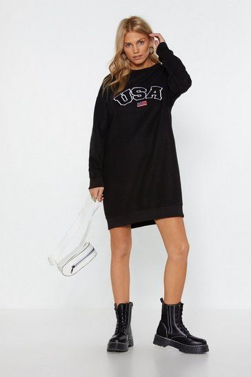 Womens Black USA-y What Graphic Sweatshirt Dress