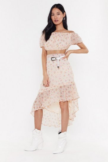 Womens Nude Frill 'Em with Kindness Floral Asymmetric Midi Skirt