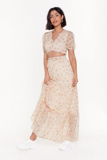 Womens Nude Frill 'Em with Kindness Floral Maxi Dress