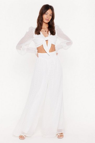Womens Cream High Life High-Waisted Wide Leg Pants