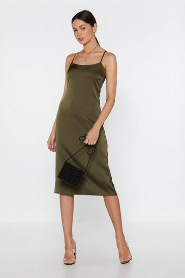 Womens Khaki Sometimes When We Touch Satin Cami Dress