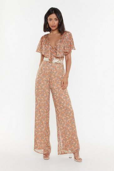 Womens Nude Petal is Not Lost Floral Ruffle Jumpsuit