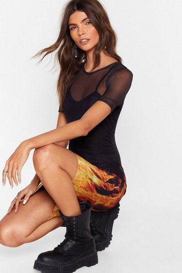 Womens Black You're on Fire Babe Mesh Tee Dress