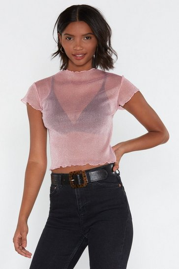 Pink Don't Forget to Dance Glitter Mesh Top