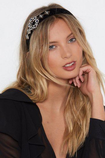 Womens Black Embellish the Moment Pearl and Diamante Headband