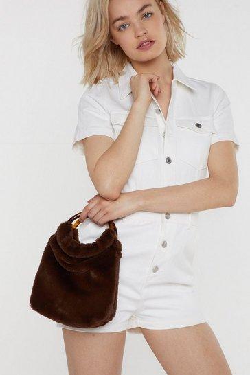 Brown WANT Grab 'N Go Faux Fur Bag