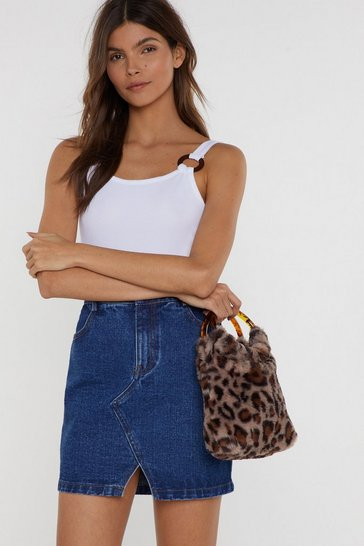 Womens Leopard WANT Grab 'N Go Faux Fur Bag