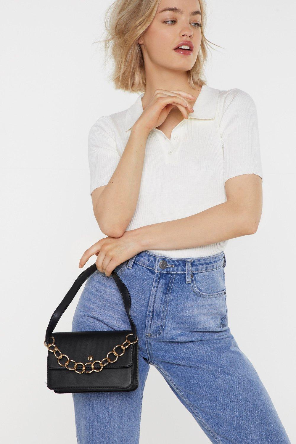 Want Hanging On The Telephone Ring Handle Bag by Nasty Gal