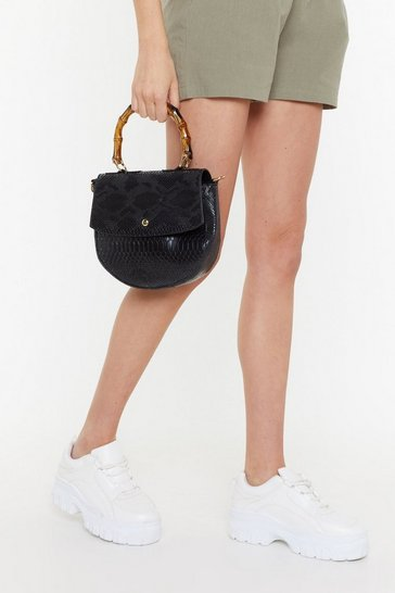 Womens Black WANT Snake Hold Bamboo Shoulder Bag