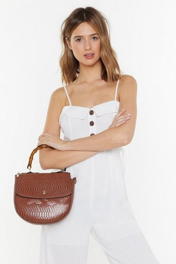 Womens Tan WANT Snake Hold Bamboo Shoulder Bag