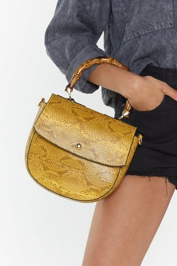 Womens Yellow WANT Snake Hold Bamboo Shoulder Bag