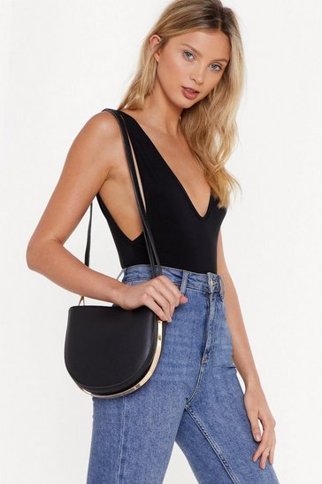 Womens Black WANT Half Moon Moments Structured Semi-Circle Bag