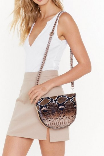 Womens Brown WANT Let's Snake It Work Structured Shoulder Bag