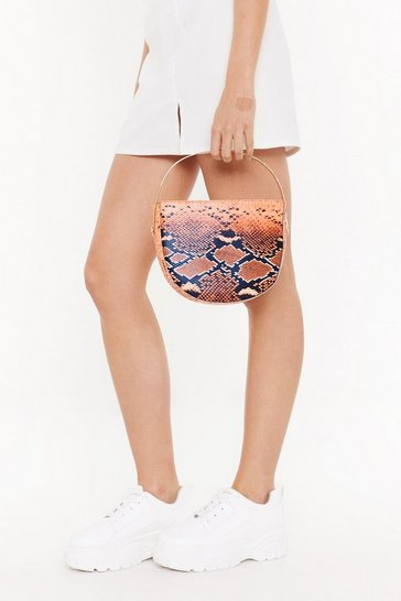 Womens Orange WANT Let's Snake It Work Structured Shoulder Bag