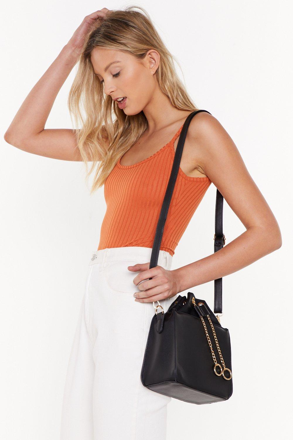 Want Hidden In Chain Sight Faux Leather Crossbody Bag by Nasty Gal
