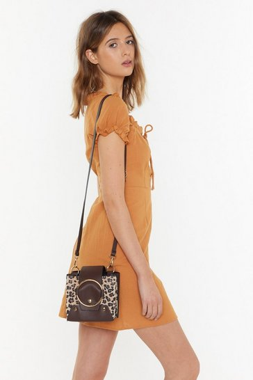 Womens Brown WANT Against the Structure Animal Chain Bag