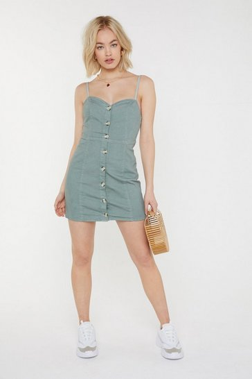 Womens Sage Button Through Denim Mini Dress