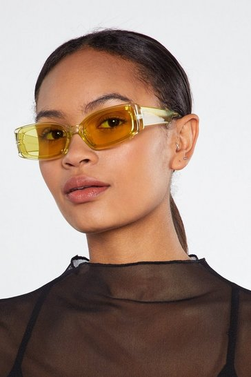 Womens Yellow Sun's Out Square Sunglasses