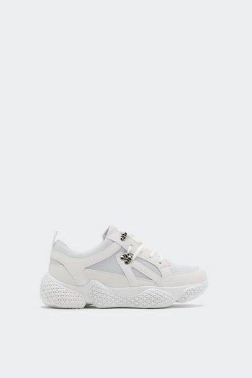 Womens White Textured Sole Bubble Trainers