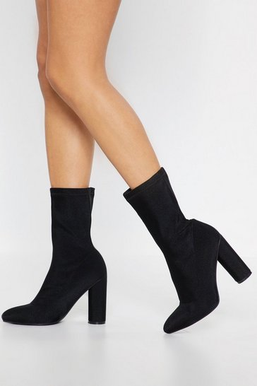 Black Sock Boot with Block Heels