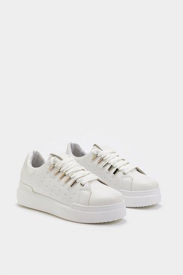 Womens White Metal Detail Flatform Lace Up Trainers