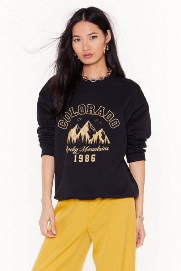Womens Black Catch Me in Colorado Graphic Sweatshirt
