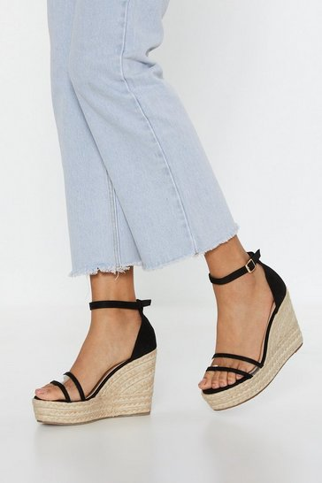 Womens Black Give It Up Perspex Espadrille Wedges