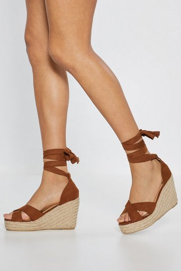 Womens Tan The Wedge of Glory Wrap Woven Sandals