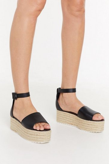 Womens Black On the Faux Leather Espadrille Platform Sandals