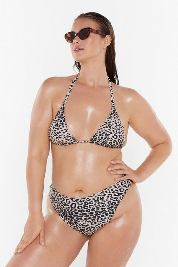 Womens Nude This Kitty Swims Triangle Bikini Top