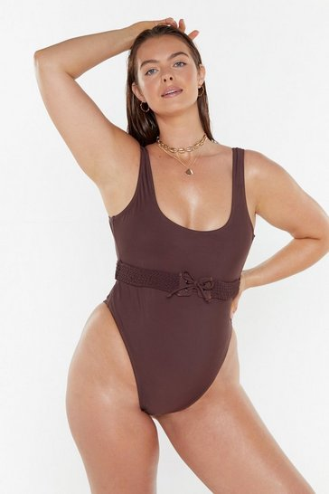 Womens Chocolate What Dreams Are Braid of High-Leg Swimsuit