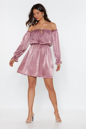 Womens Dusky pink Bare With Me Off-the-Shoulder Satin Dress
