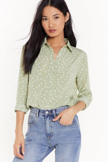 Womens Olive In Case You Polka Dot Relaxed Shirt