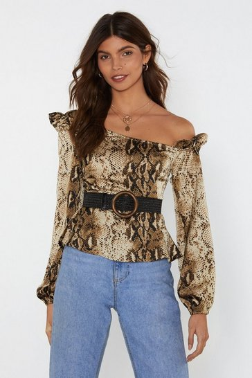 Womens Beige Bare to Be Different Snake One Shoulder Top
