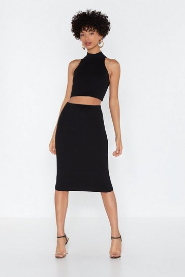Womens Black Why Halter-nate Crop Top and Midi Skirt Set