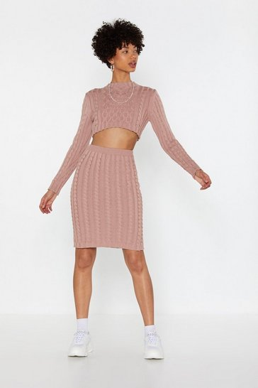 Womens Mauve Whatever Knit Takes Cable Knit Cropped Sweater and Skirt Set