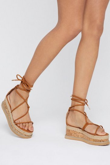 Womens Tan Give It a Go Wrap Cork Sandals
