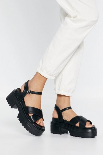 Black Watch Your Step Faux Leather Platform Sandals