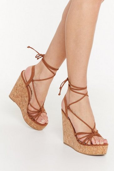 Womens Tan Let's Cork About Love Lace-Up Wedge Sandals
