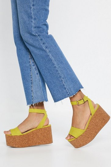 Womens Yellow Buckle Platform Wedges