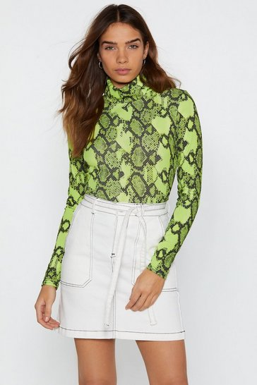 Womens Neon-green Snake a Smile Neon Turtleneck Top